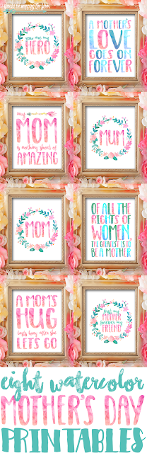 These eight lovely watercolor Mother's Day Printables are perfect for gifting or decorating. These pretty 8x10 prints sure to bring a smile to any mom's face!