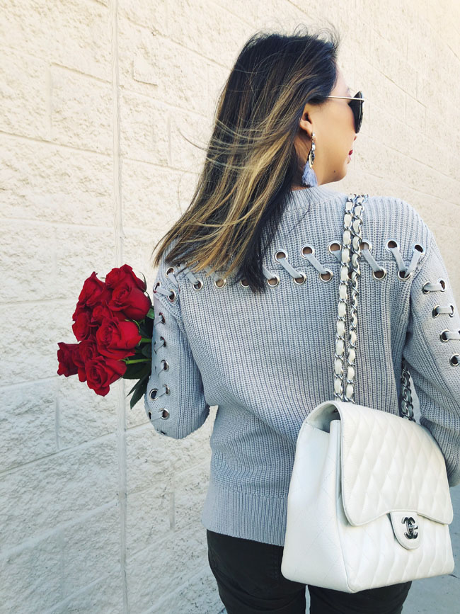 Sweater with Grommets, How to Style a sweater in Winter, Chicago Fashion Blogger