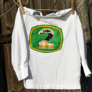 handmade John Deere tractor 2nd birthday shirt
