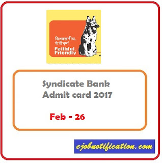 Admit card Syndicate Bank PO Call Letter 2017-18 on www.syndicatebank.in