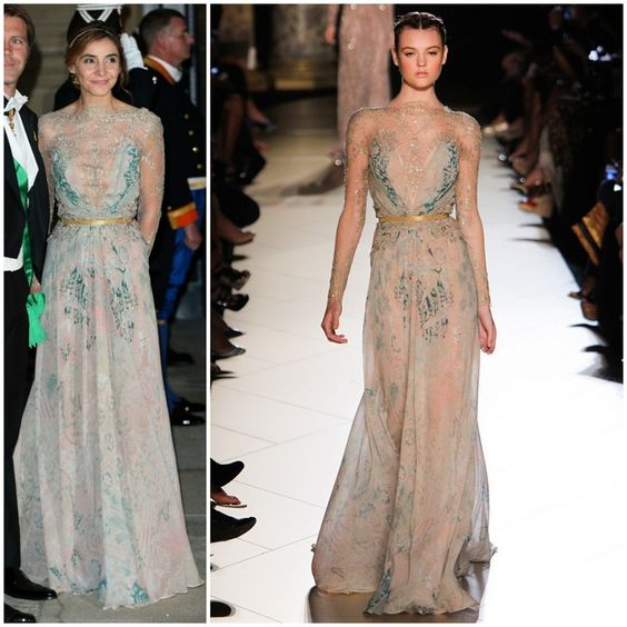 Princess Clotilde of Savoy wore Elie Saab Fall 2012 Couture printed gown with a lace embroidered overly which was accented with a gold belt