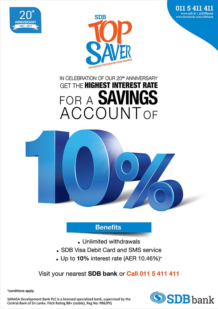 SDB Top Saver offers 10% Highest Interest Rate for a Savings Account.