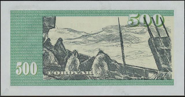 Faroese Banknotes 500 Krone banknote 1978 Faroe Islands Fishing Industry