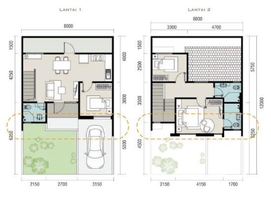Denah rumah minimalis ukuran 8x12 meter 3 kamar tidur 2 lantai