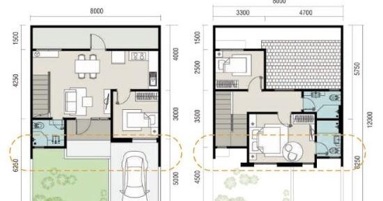 Denah rumah minimalis ukuran 8x12 meter 3 kamar tidur 2