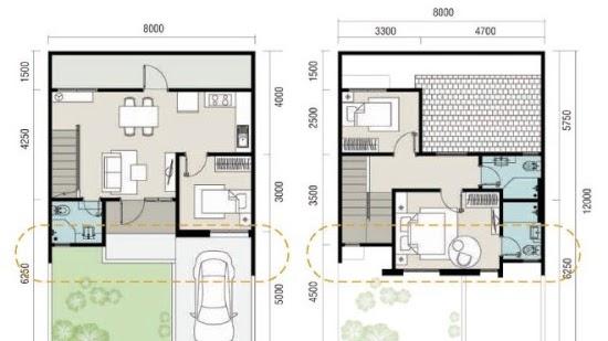 Lingkar Warna Denah Rumah Minimalis Ukuran 8x12 Meter 3 Kamar Tidur 2 Lantai Tampak Depan
