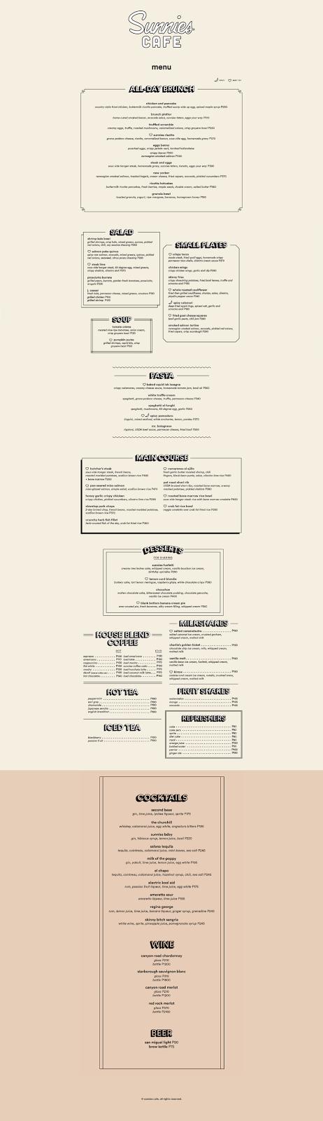 Sunnies Cafe menu