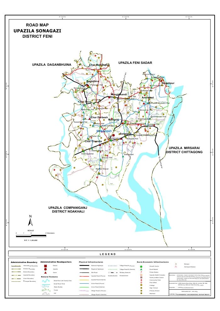 Sonagazi Upazila Road Map Feni District Bangladesh