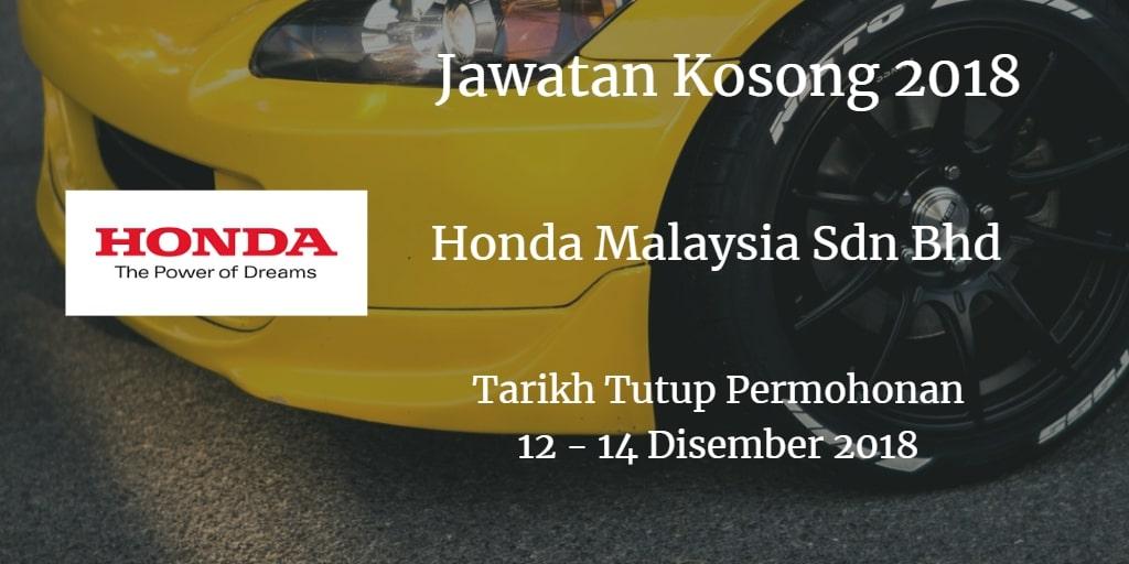 Jawatan Kosong Honda Malaysia Sdn Bhd 12 - 14 Disember 2018
