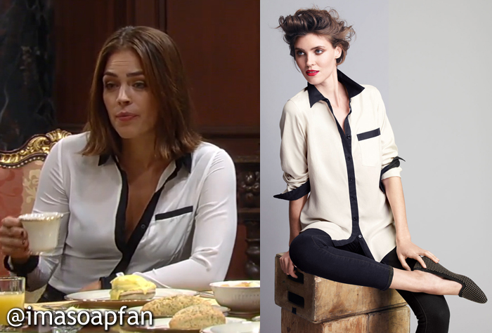 f2b2cbedec095b During these scenes, Britt was wearing a white blouse with a contrasting black  trim. I think Britt's blouse is by Go Silk. It's sold out online, ...