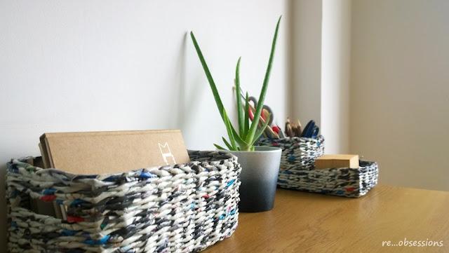 papierowa wiklina, recykling, koszyk, papier, wicker paper, paper, recycle, basket