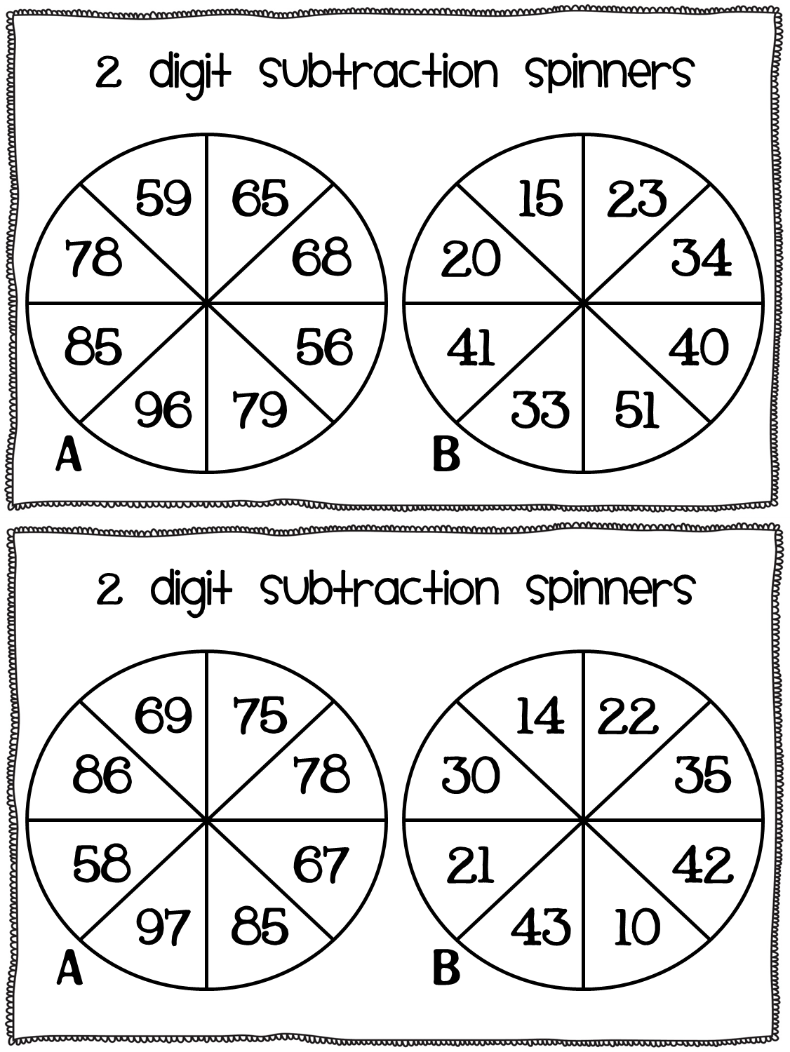 Subtraction Freebie