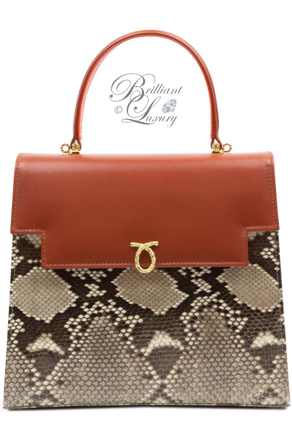 Brilliant Luxury ♦ Launer Juliet top handle handbag python and tan calf leather