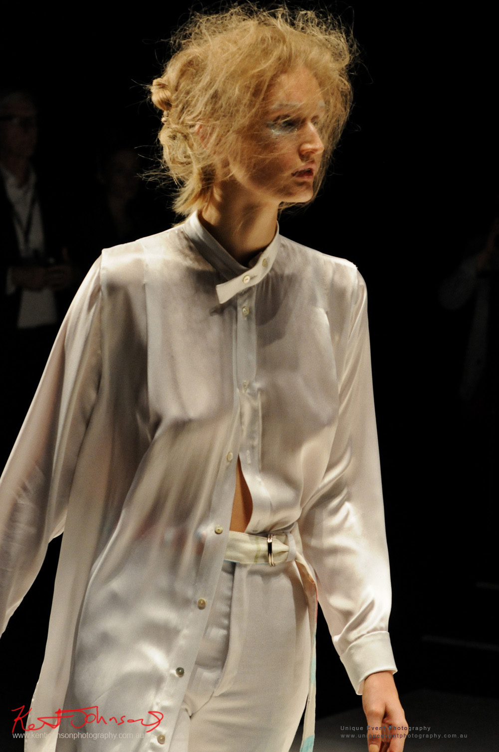 Women's wear, silk blouse and white pants, DE LA MOTTE; Anne De La Motte - Designers from Raffles International Showcase 2016 - MBFWA  Photographed by Kent Johnson.