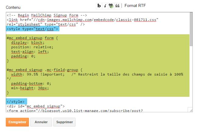 Modifier l'apparence du formulaire d'inscription MailChimp sur Blogger