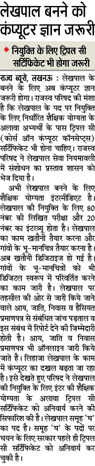 UP Lekhpal Bharti 2018 4,000 Vacancy Latest News