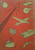 História das invenções. Monteiro Lobato. Editora Brasiliense. Augustus (Augusto Mendes da Silva). Contracapa de Livro. Década de 1950. Década de 1960.
