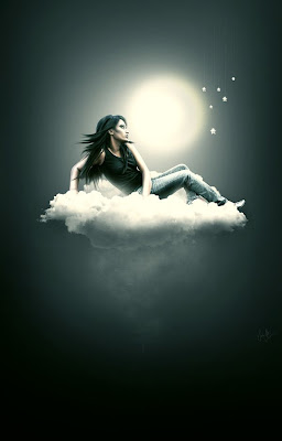 fotomontaje mujer en una nuve