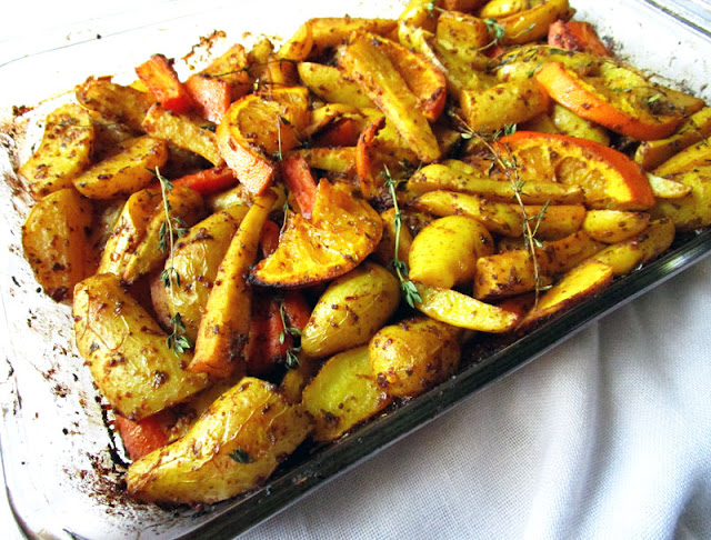 Roasted Root Vegetables with Garlic, Mustard and Orange