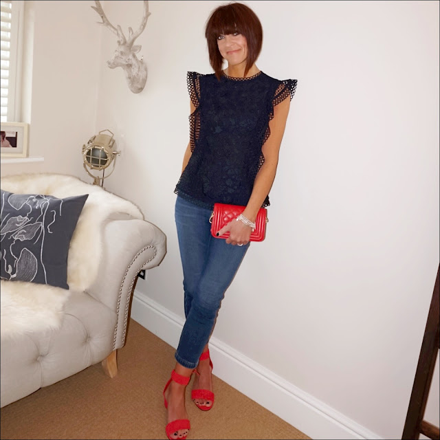My Midlife fashion, j crew woven wedge sandals, red quilted leather bag, ted baker ruffle lace top