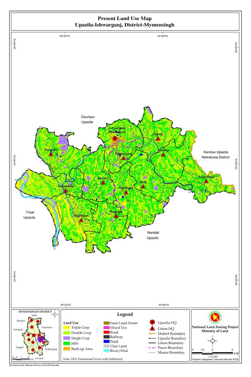 Ishwarganj Upazila Mouza Map Mymensingh District Bangladesh