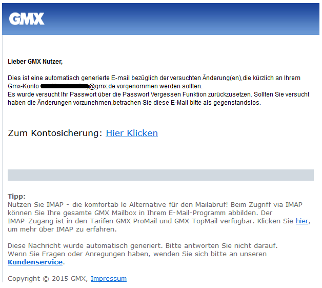 phishing mail alerts gmx versuchter zugriff auf ihr postfach. Black Bedroom Furniture Sets. Home Design Ideas