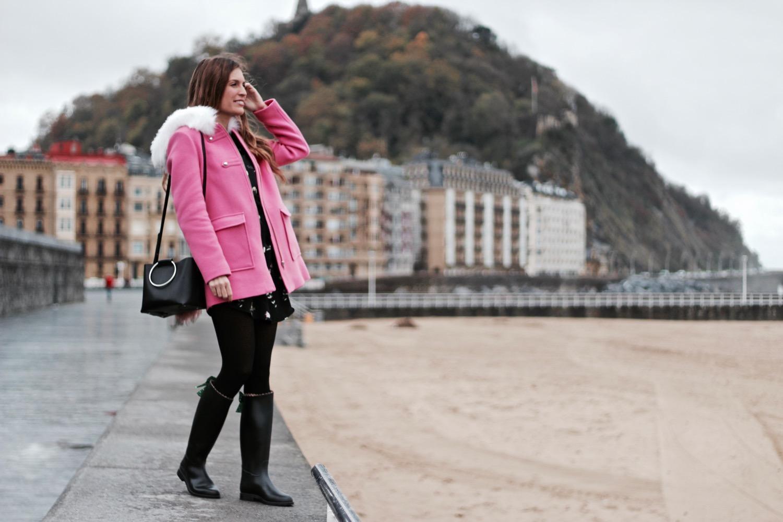 abrigo rosa naf naf