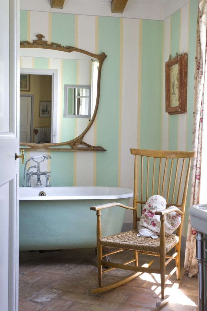 romantic striped gold and green bathroom