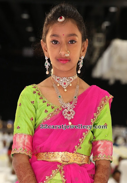 Small Girl in Simple Diamond Sets