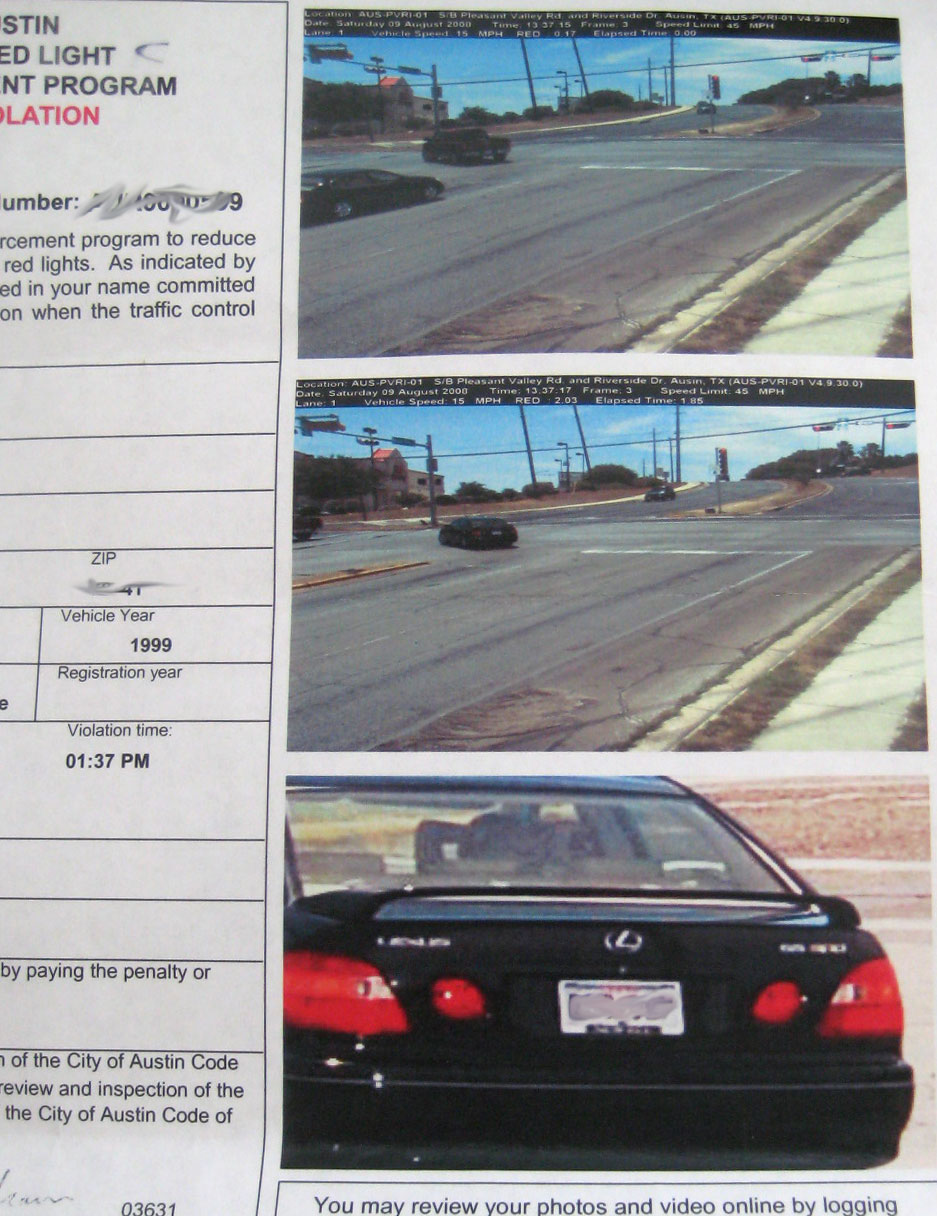 How to Read a Red Light Camera Ticket