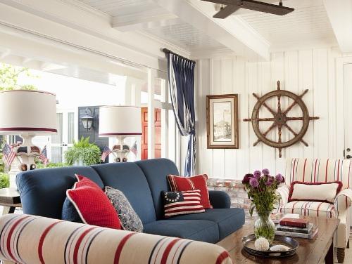 Red and Blue Nautical Living Room Interior Design Idea