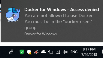 Docker for Windows: Access Denied