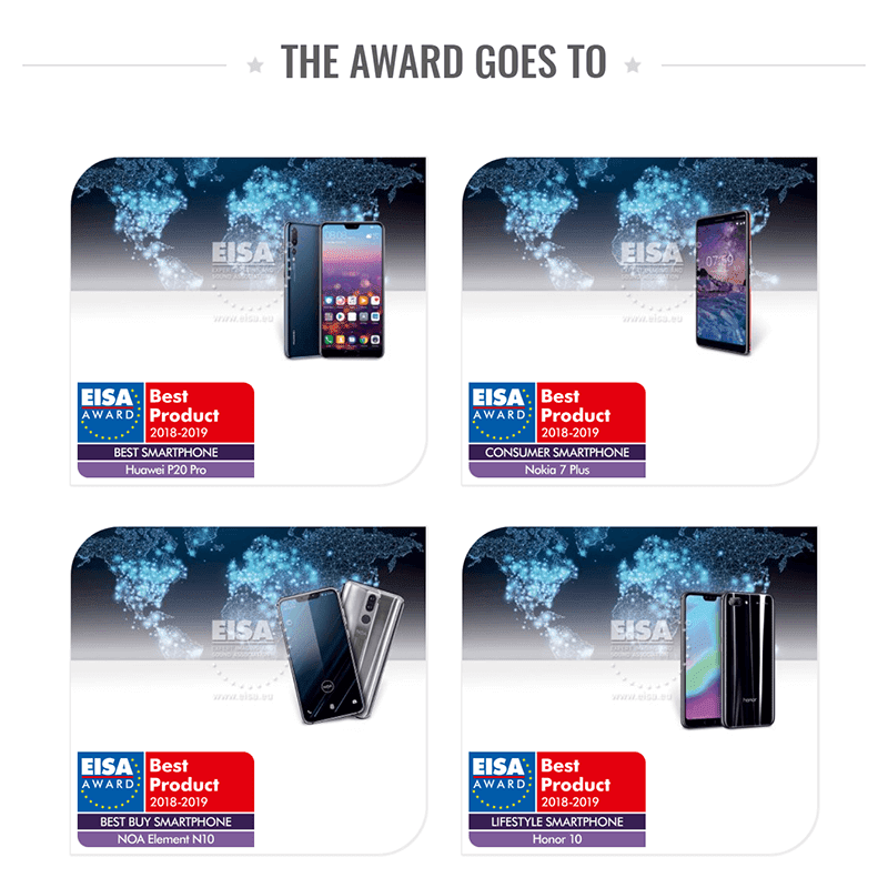 EISA Awards 2018-2019: NOA Element N10, Nokia 7 Plus, Honor 10, and Huawei P20 Pro are the big winners!