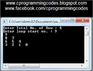 Output of Reverse Floyd Number Pattern C Program