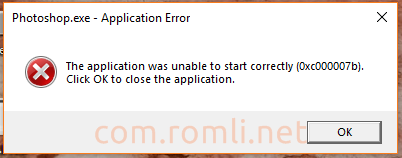 Mengatasi error The application was unable to start correctly (0xc000007b). Click OK to close the application
