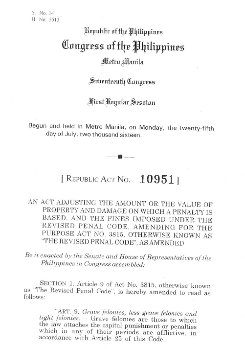 "President Duterte signed into law this week Republic Act 10951, or the Amendment to the Revised Penal Code. The new law includes a provision imposing penalties on a person found guilty of spreading fake news that might affect public order.  With the prevalence of fake news from all sides of the political and social spectrum, Duterte signed the law that amended the 87-year-old Revised Penal Code that also placed penalties on unlawful use of publication and unlawful spoken statements.  Article 154, Section 18 of the act provides a penalty of arresto mayor - that's one month and one day up to six months in prison. Included in the penalty is a fine ranging from P40,000 to P200,000. The penalty used to be only ₱200 to ₱1,000 only.  The punishment may be imposed against any person who by means of print, lithography or any other methods of publication shall publish or cause to be published as news any ""false report that might endanger public order or damage the interest or credit of the state.""  The statement ""other methods of publication"" could also mean online publications. A majority of fake news nowadays is spread online via social media sites, web pages and video streaming.  The law also covers any person who shall maliciously publish, or cause to be published any official resolution or document without proper authority or before they have been published officially. This means leaking of government documents will merit penalties of prison sentence and fine.  The printing, or causing to print, and the distribution of published or distributed books, pamphlets, periodicals or leaflets which do not bear the real printer's name, or which are classified as anonymous is also punishable under RA 10951.  The measure will take effect 15 days after its publication in at least two major newspapers. It will be applicable to pending cases before the courts where trial has already started.   sources: Rappler, PhilStar"