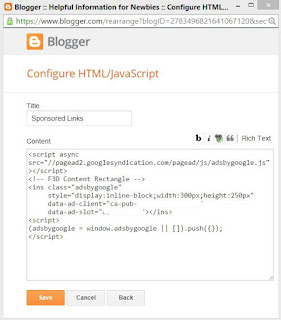 Pasting Adsense code into blogger's html gadget.