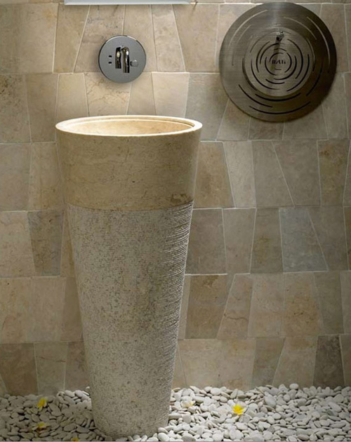 Charcoal Decores Stone Pedestal Sink