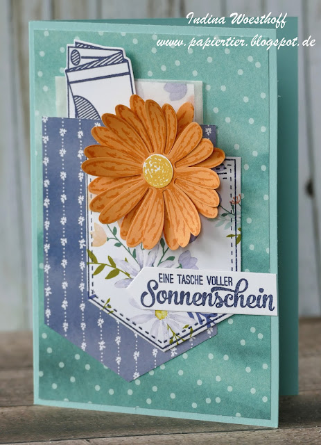 Tasche voller Sonnenschein | Gutscheinkarte | papiertier Indina | Stampin' Up! | Gänseblümchen