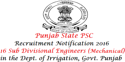 PPSC Irrigation Dept recruitment 2016