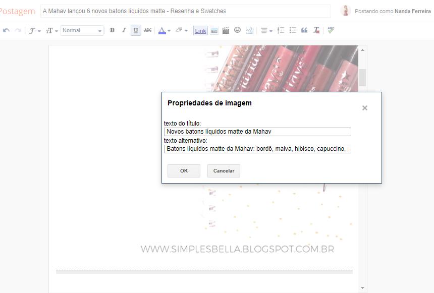 Como usar as propriedades de imagem no blogger