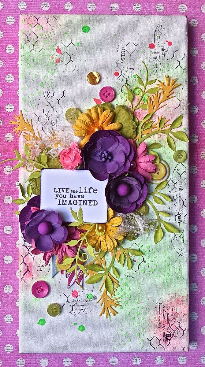 Live the life you have imagined canvas by Megan Gourlay using BoBunny Lace Stencil