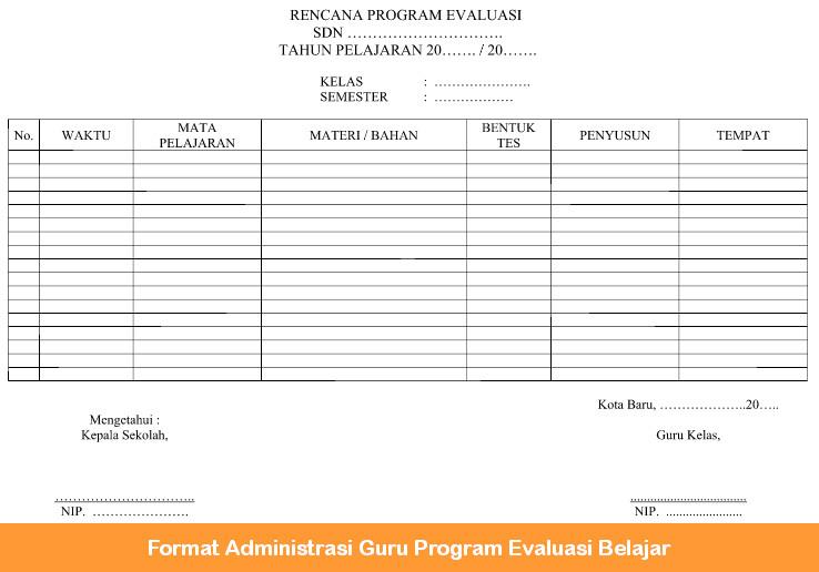 Format Administrasi Guru Program Evaluasi Belajar