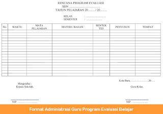 Administrasi Guru Program Evaluasi Belajar