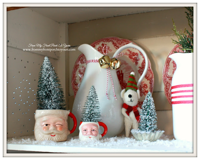Vintage Santa Mugs-Transferware-Red-Christmas Vignette-Christmas Decorations-From My Front Porch To Yours