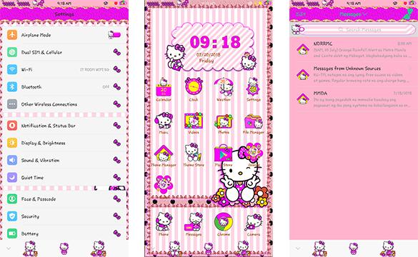 Oppo Theme: Oppo Hello Kitty Flower Polkadots Theme