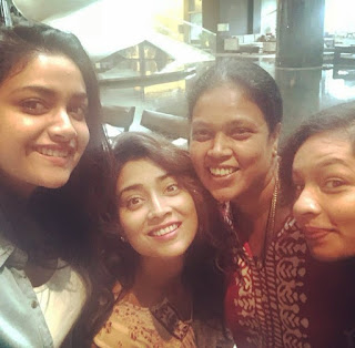Keerthy Suresh with Cute and Lovely Smile with Shriya Saran Latest Selfies