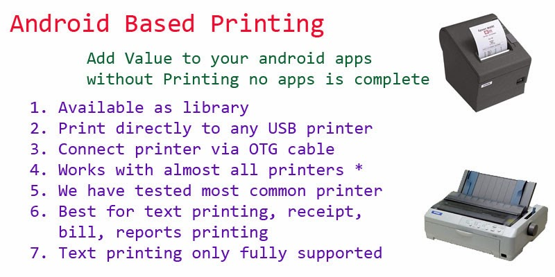 Library to Print from Android Device using OTG cable on USB port