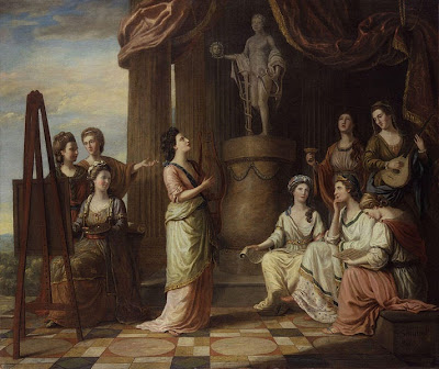Portraits in the Characters of the Muses in the Temple of Apollo by Richard Samuel, 1778