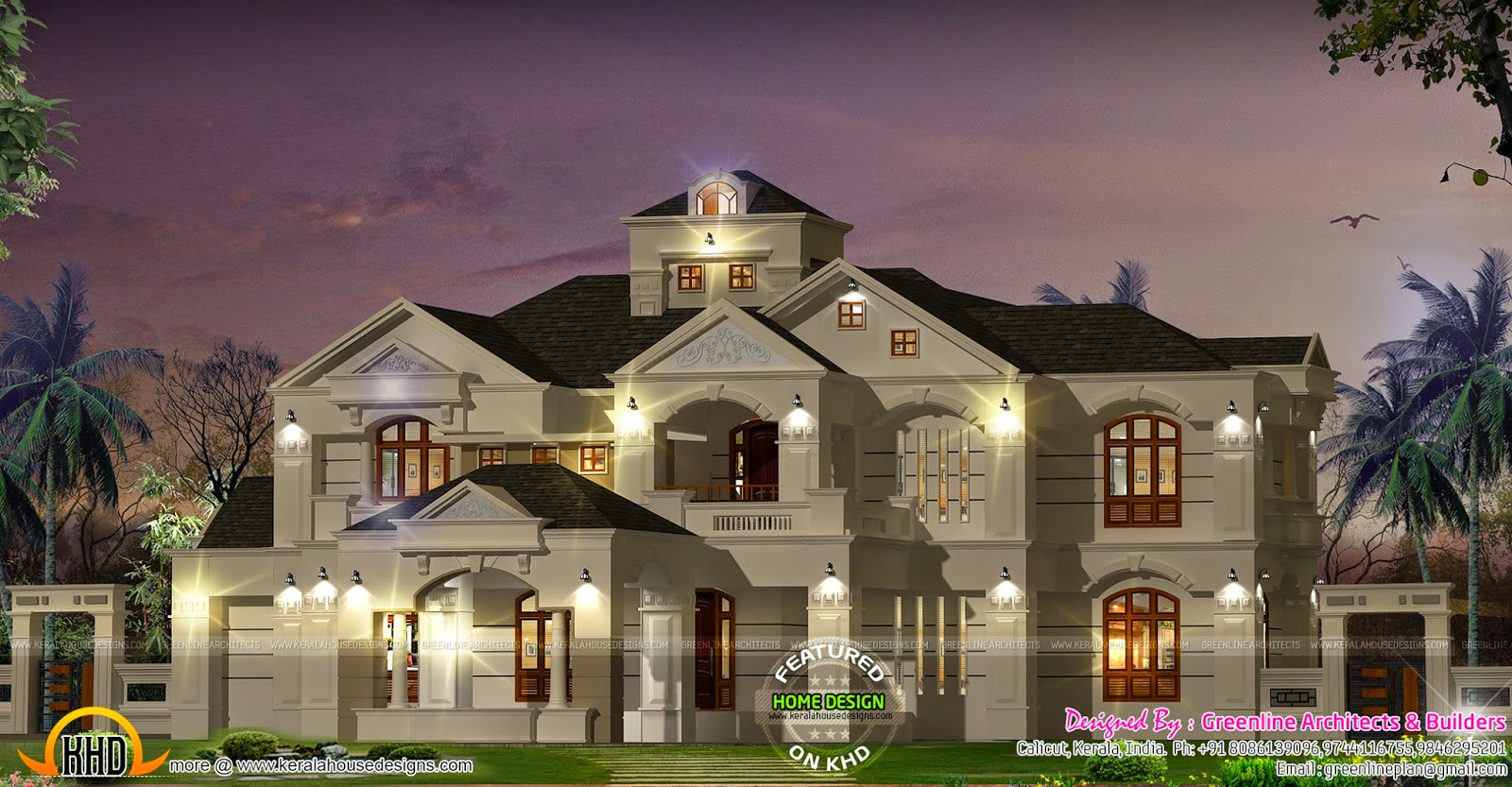 5 bedroom colonial style luxury villa kerala home design for Luxury homes architecture design